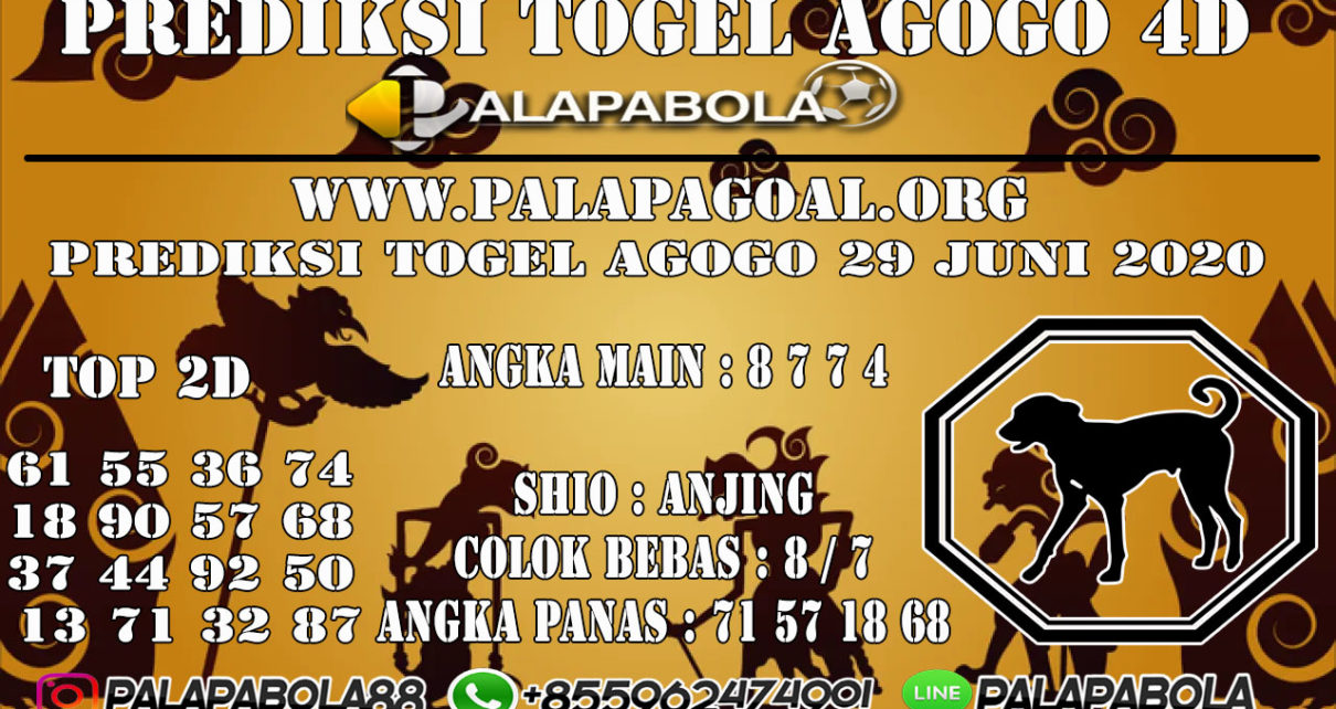 Prediksi Togel AGOGO PALAPABOLA 29 JUNI 2020