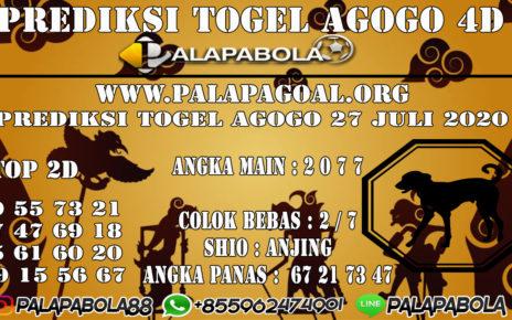 Prediksi Togel AGOGO PALAPABOLA 27 JULI 2020