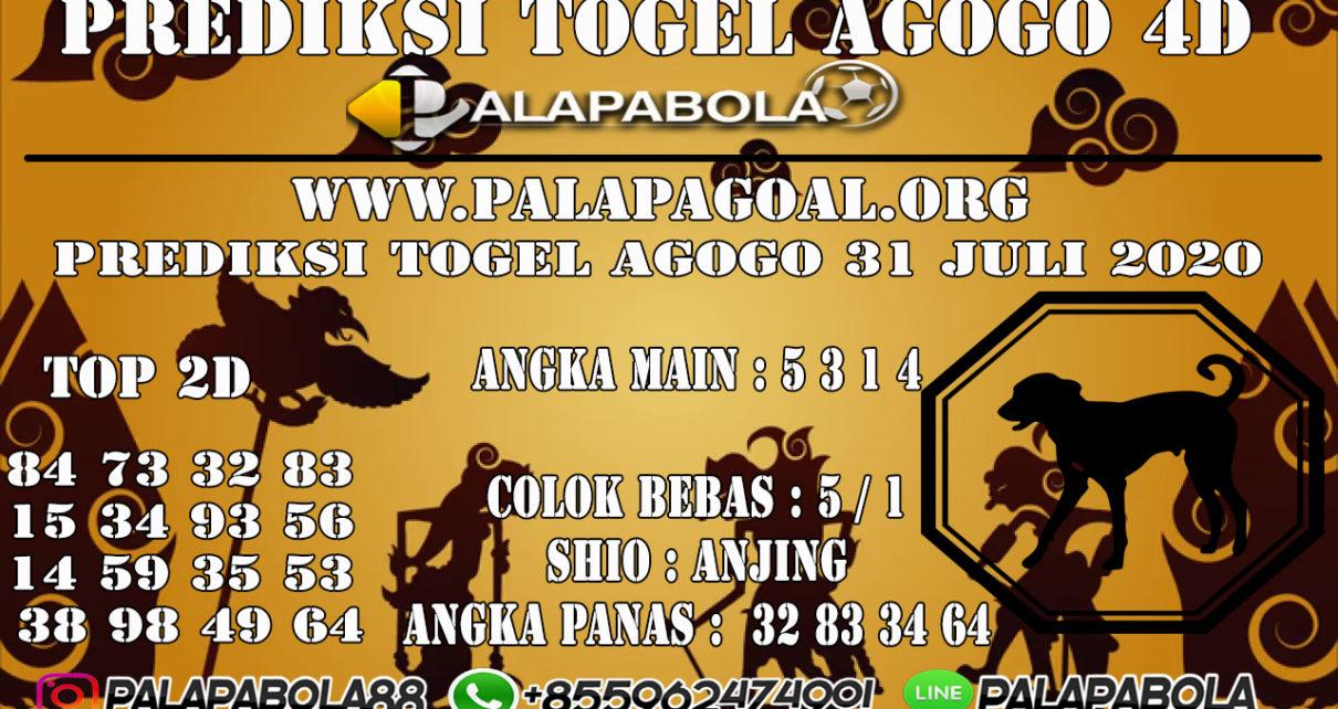 Prediksi Togel AGOGO PALAPABOLA 31 JULI 2020
