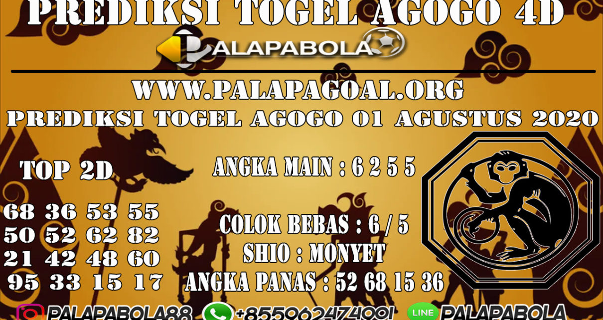 PREDIKSI TOGEL AGOGO 4D 01 AGUSTUS 2020
