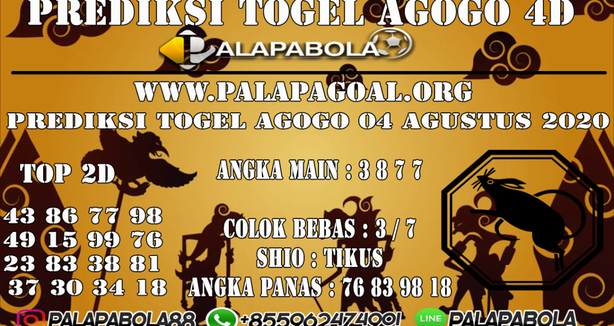 PREDIKSI TOGEL AGOGO 4D 04 AGUSTUS 2020