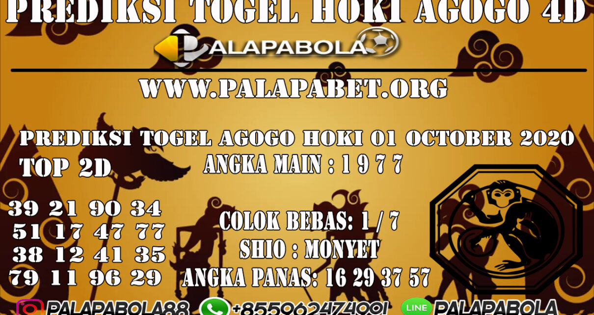 PREDIKSI TOGEL AGOGO HOKI 4D 01 OCTOBER 2020