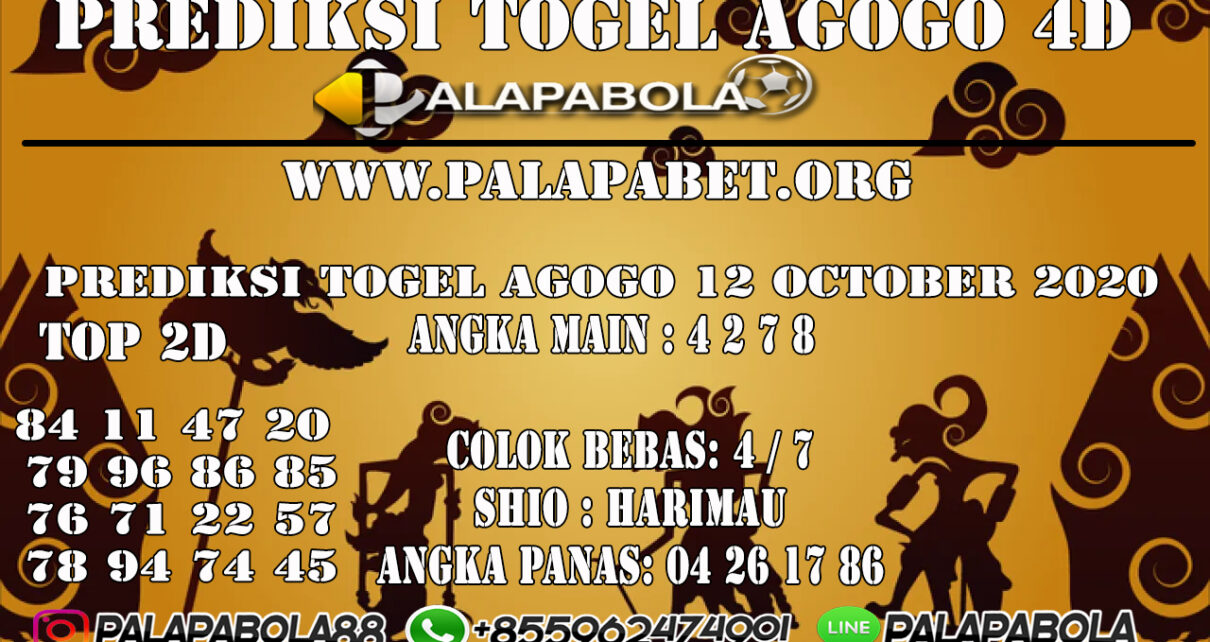 Prediksi Togel Agogo 4D 12 OCTOBER 2020