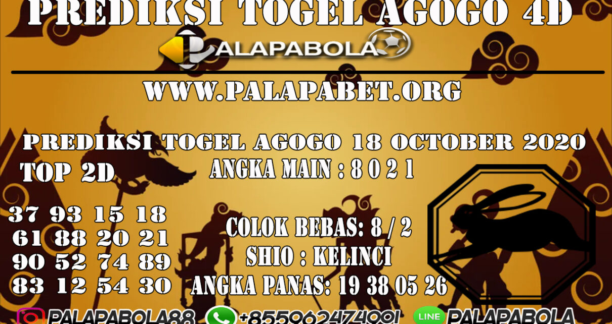 Prediksi Togel Agogo 4D 18 OCTOBER 2020