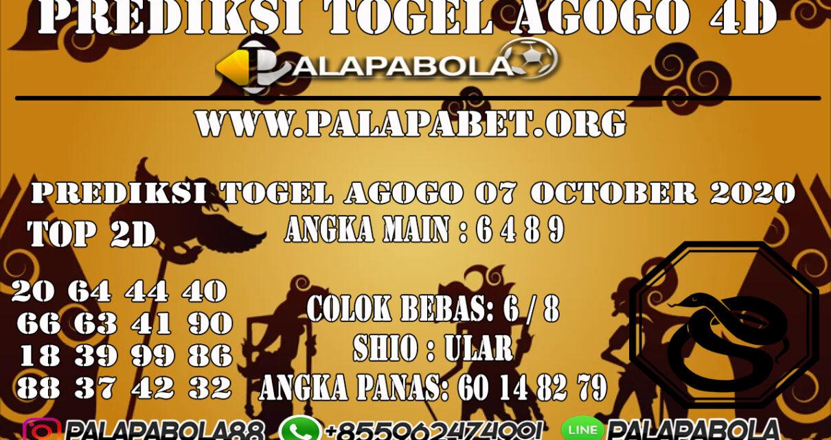 Prediksi Togel Agogo 4D 07 OCTOBER 2020