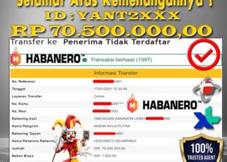 Bukti Kemenangan JACKPOT SLOT HABANERO 70Juta